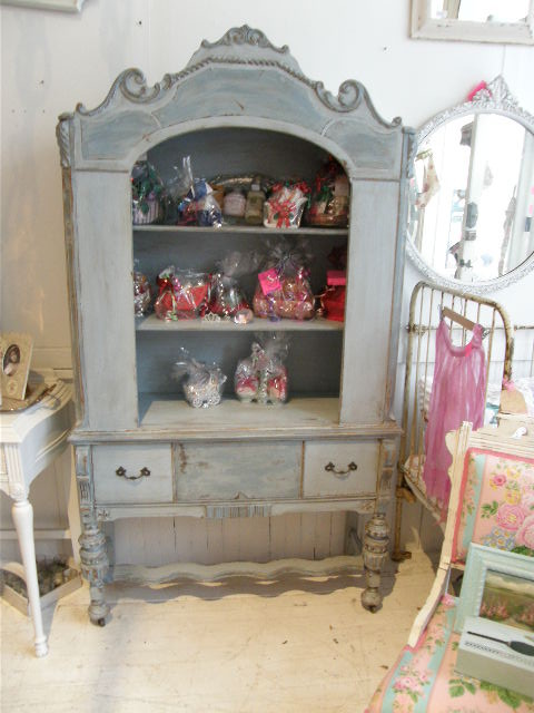 antique shabby chic china cabinet blue distressed - eclectic ...
