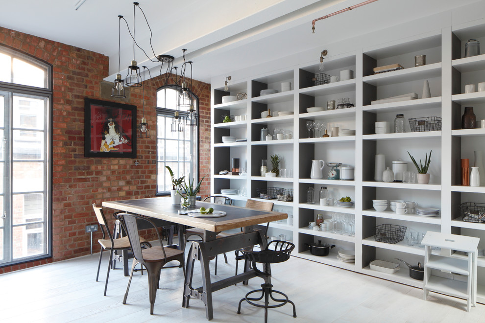 Inspiration for an industrial painted wood floor and white floor dining room remodel in London with white walls