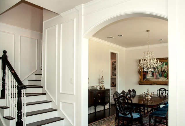 Arched Entry into Dining and Main Stair - Traditional ...