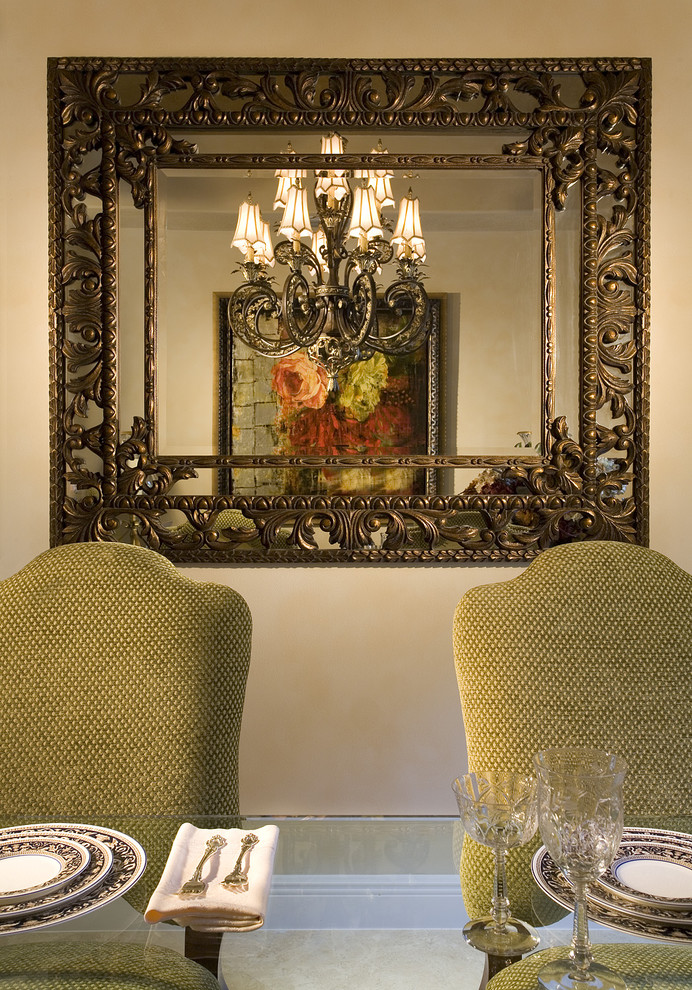 Elegant dining room photo in Miami with beige walls