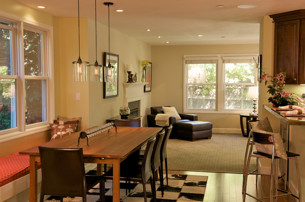 Inspiration for a contemporary great room remodel in San Francisco with beige walls