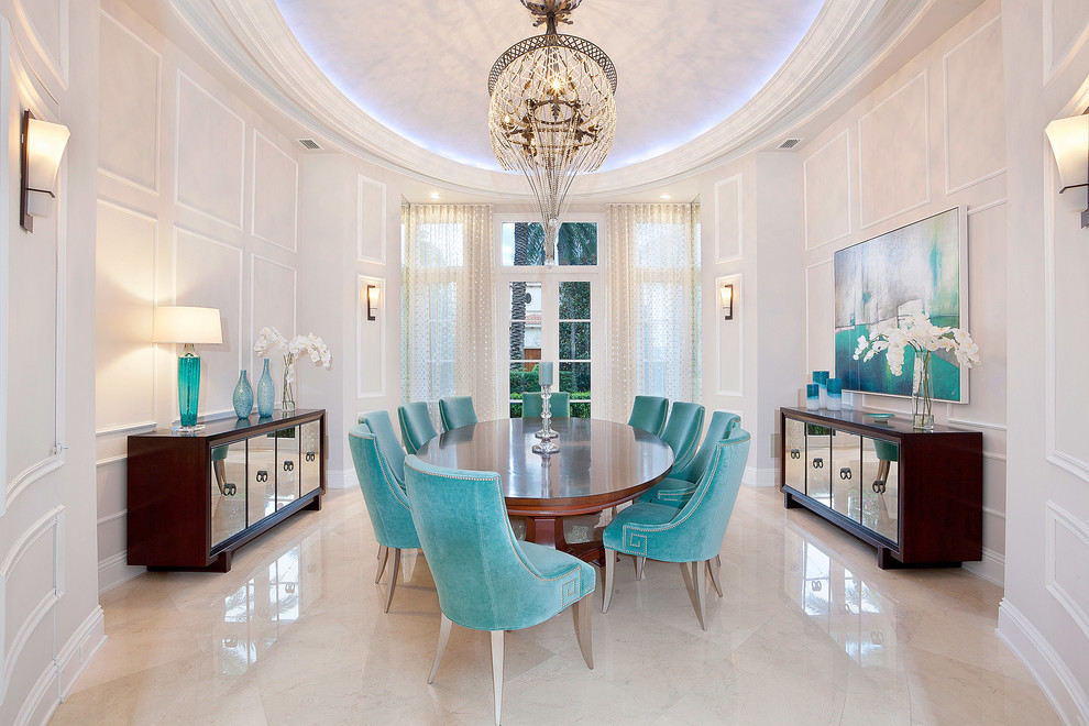 Inspiration for a transitional dining room remodel in Miami with beige walls