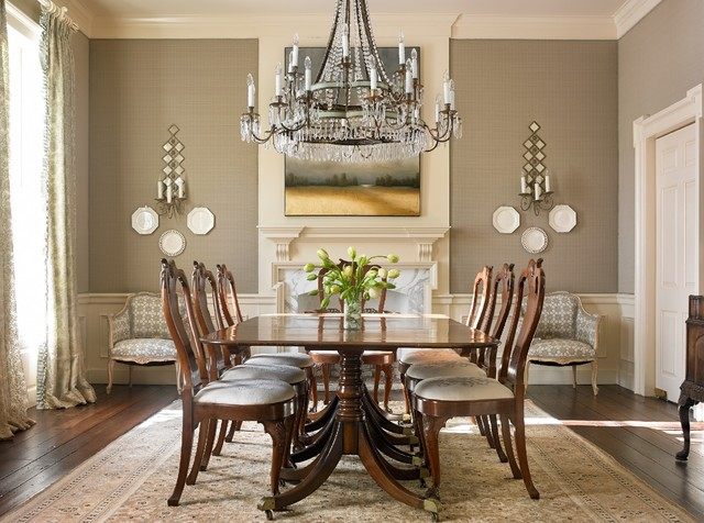 Elegant dark wood floor enclosed dining room photo in Atlanta with gray walls and a standard fireplace