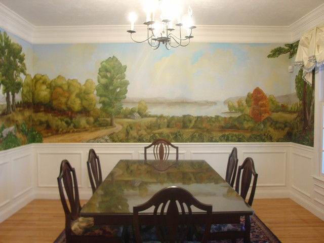 Arteriors hudson river school mural traditional dining for Dining room mural wallpaper