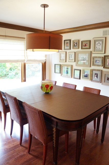Mid-sized arts and crafts medium tone wood floor kitchen/dining room combo photo in Indianapolis with beige walls