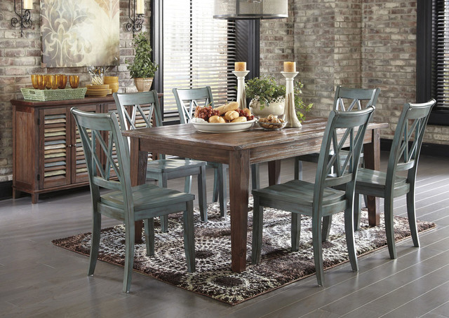 Ashley Mestler Dining Table With 6 Chairs And Sideboard Rustic Room