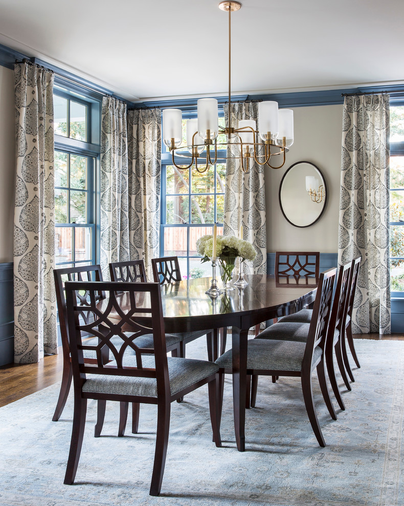 Inspiration for a mid-sized transitional dark wood floor and brown floor enclosed dining room remodel in San Francisco with beige walls