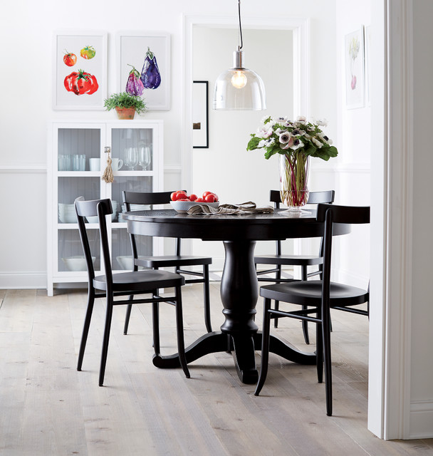 """Dining Room Tables Chicago: Avalon 45"""" Black Round Extension Dining Table"""