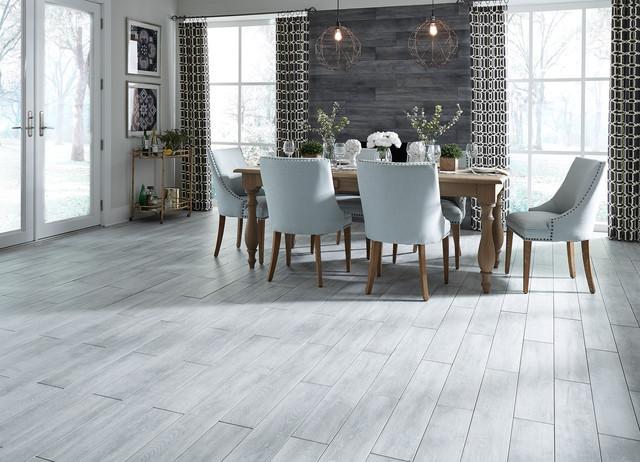 Avella 36 X 6 Morning Sky Oak Porcelain Flooring Contemporary Dining Room