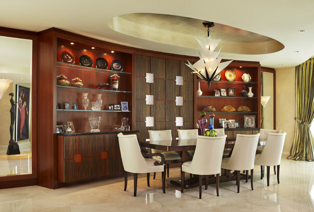 Aventura contemporary dining room miami by arnold for Dining hall wall design
