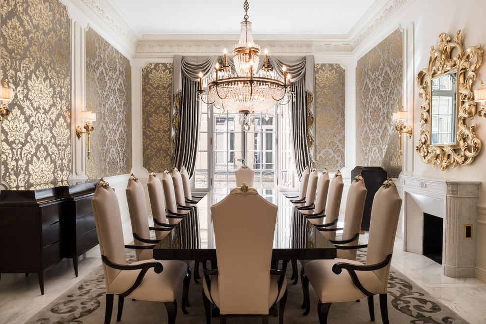 Dining room - large victorian dining room idea in Belfast with metallic walls and a standard fireplace