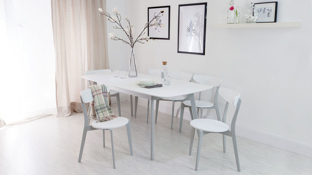 aver grey and white extending dining table with senn dining chairs Danetti Dining Table