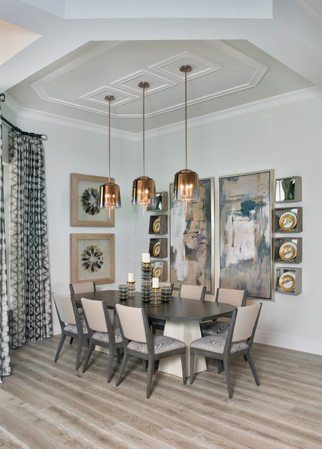 Dining room - transitional beige floor dining room idea in Miami with gray walls