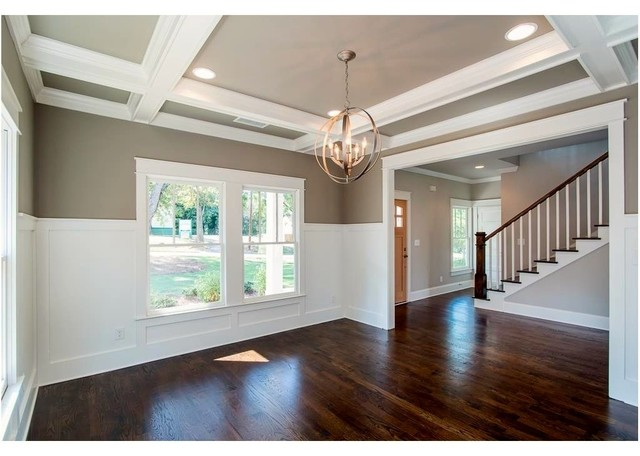 Example of an arts and crafts dining room design in Atlanta