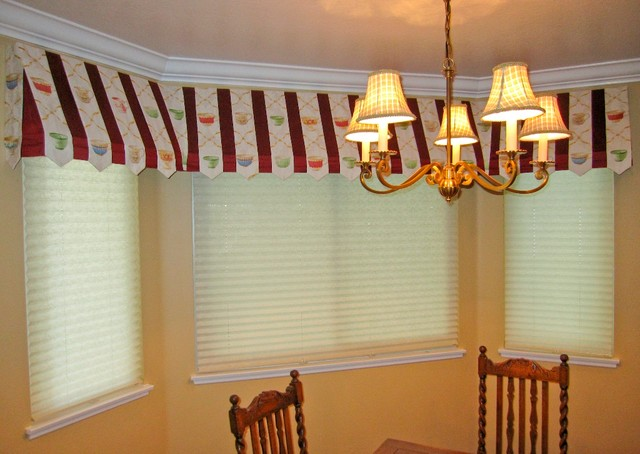 Awning Window Treatment : Awning valance with pleated shades traditional dining