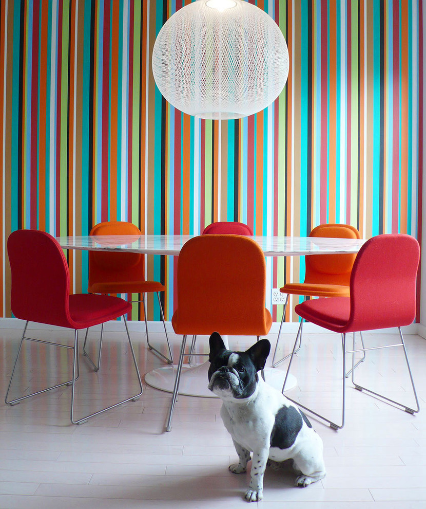 Dining room - contemporary painted wood floor and white floor dining room idea in New York with multicolored walls and no fireplace