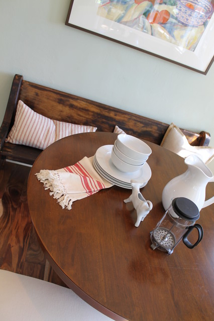 Banquette Seating with Antique Church Pew (Deacons Bench ...