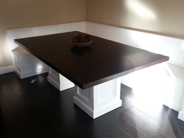 Banquette With Custom Pedestal Table Traditional Dining Room