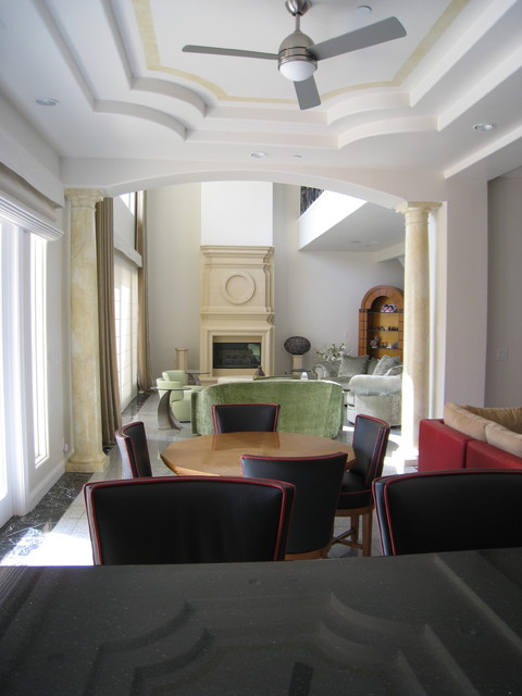 Bar view to library. contemporary-dining-room