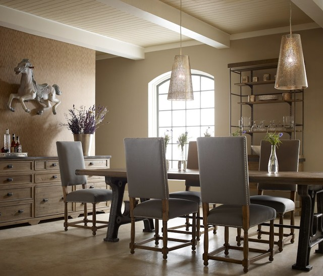 Barn house industrial dining room industrial dining room houston by zin home - Houston dining room furniture ideas ...