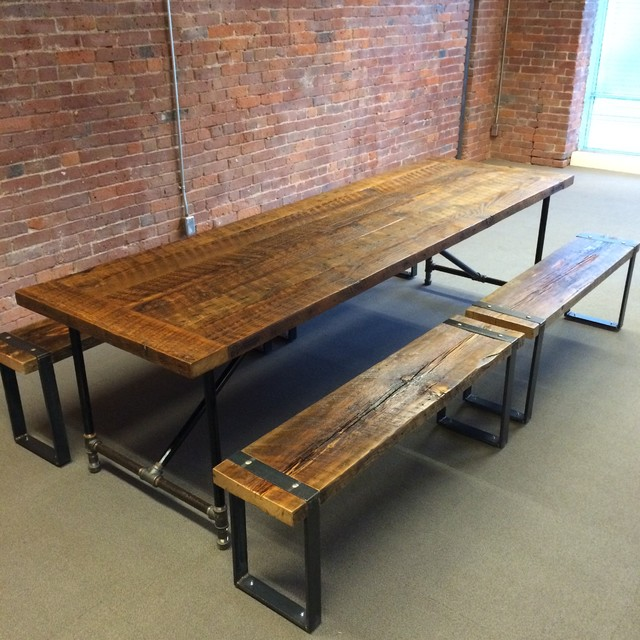 Barn Wood Dining Table and Benches Rustic Dining Room  : rustic dining room from houzz.com size 640 x 640 jpeg 116kB