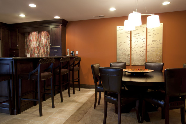 Basement Bar With Dining Game Table Contemporary Room