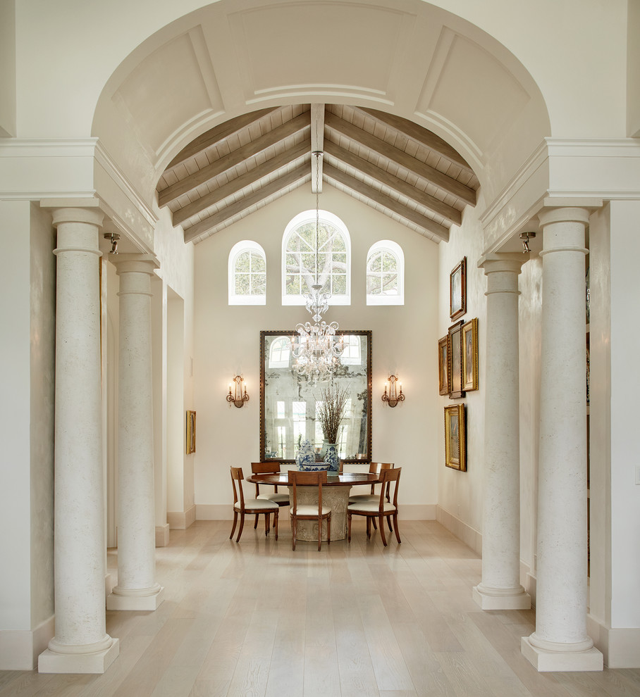 Kitchen/dining room combo - large traditional kitchen/dining room combo idea in Miami with white walls and no fireplace