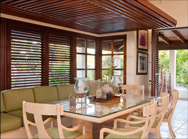 bay window dining tropical dining room portland by mcm design
