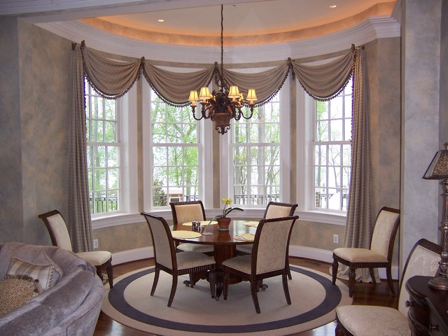 Bay windows bow windows corner windows oh my for Dining room valance ideas