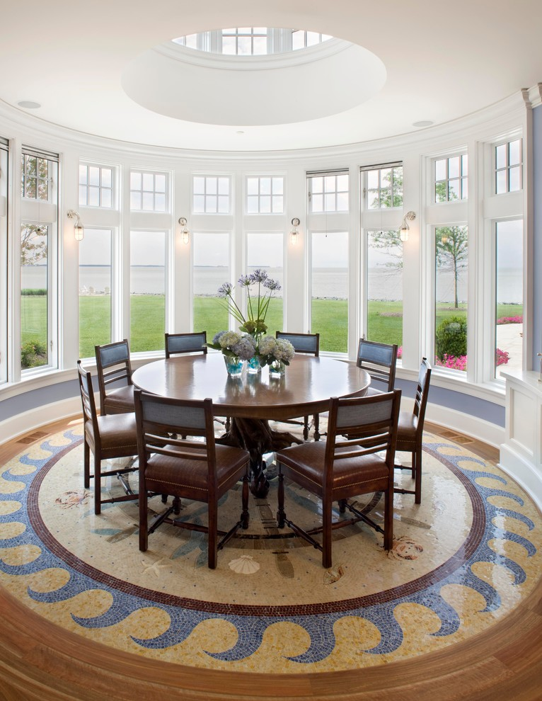 Elegant ceramic tile and multicolored floor dining room photo in DC Metro