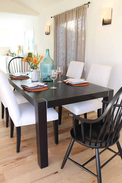 Beach Tones Of Sea Glass And Orange In Coastal Dining Room