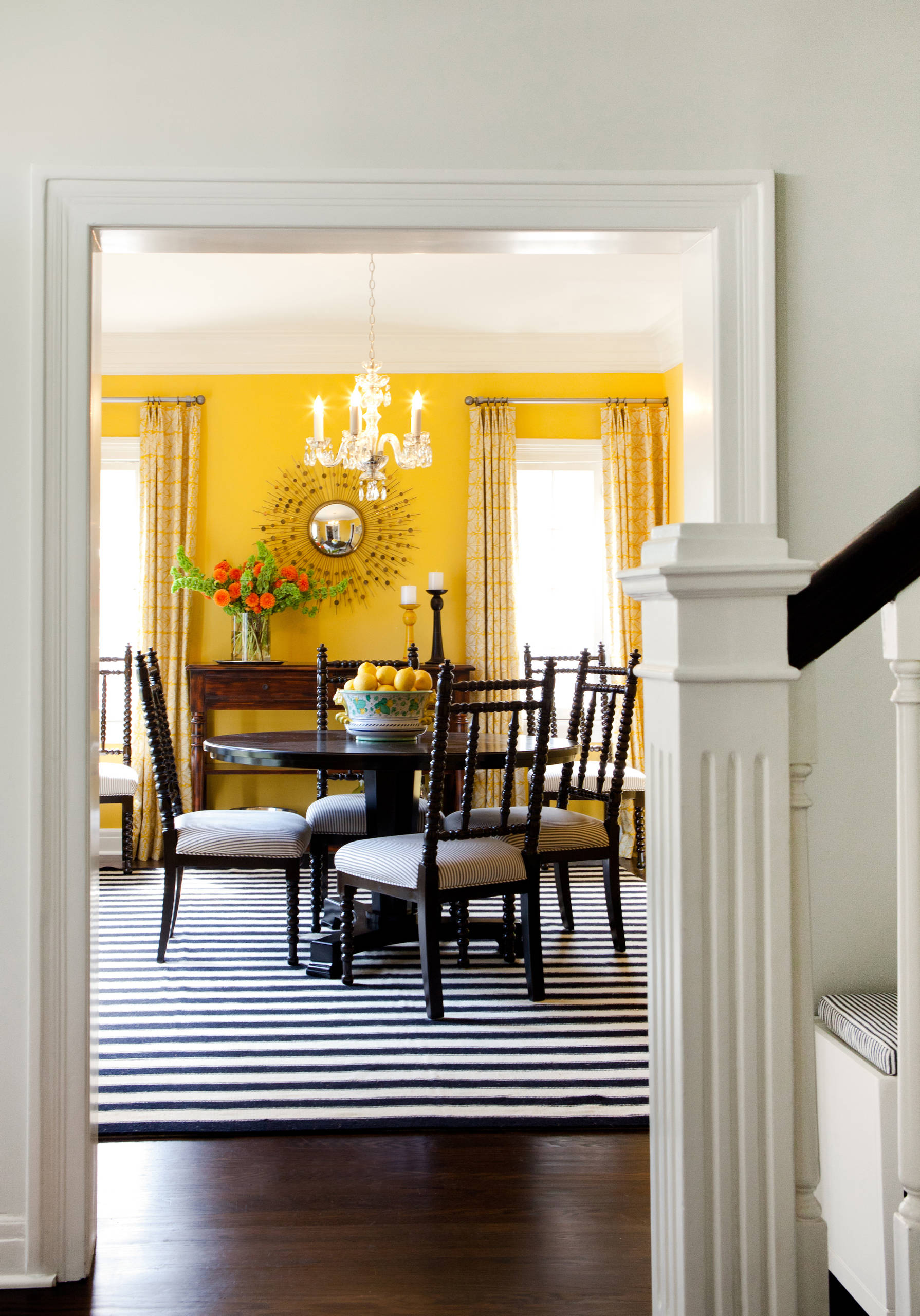 Picture of: Yellow Walls With Curtains Houzz