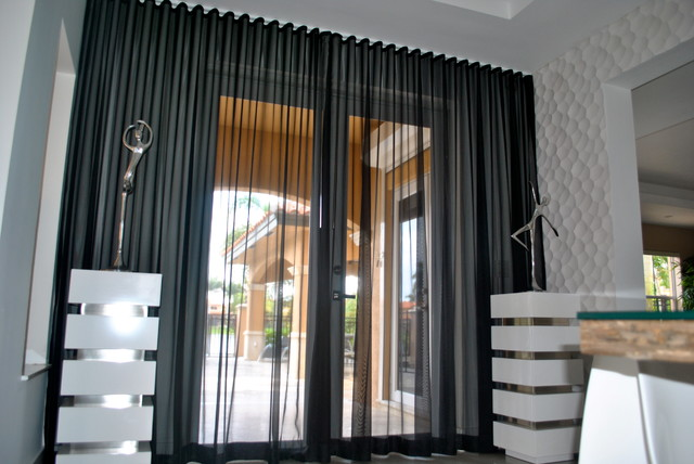 Beatriz Miami Lakes Ripple Fold Black Silver Sheer Drapes Contemporary Dining Room