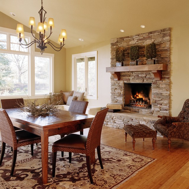 Beautiful fireplace settings traditional dining room for Dining room fireplace ideas