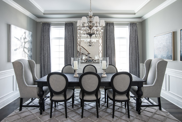 Beautiful Gray Traditional Dining Room Chicago By