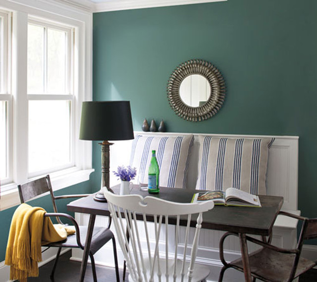 Teal Dining Room Ideas Part - 35: Benjamin Moore Beach-style-dining-room