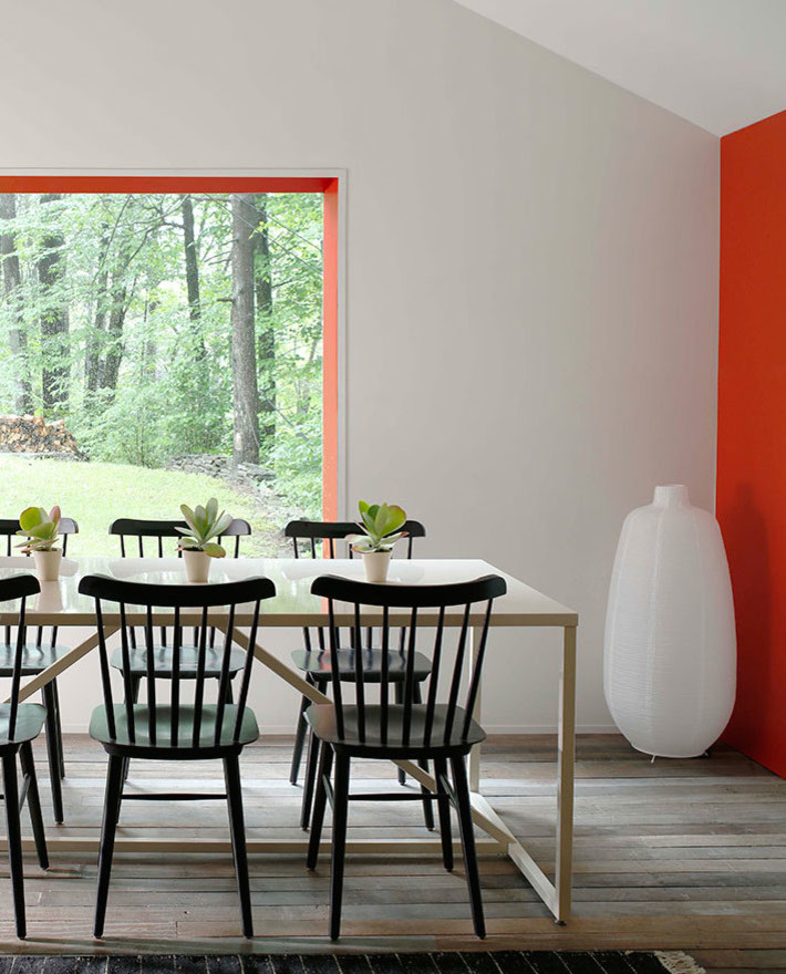 Example of a mid-sized minimalist light wood floor kitchen/dining room combo design in Other with red walls
