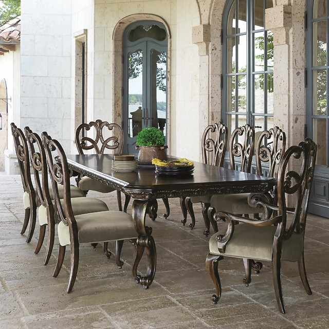 Bernhardt Villa Medici 9 Piece Dining Set With Splat Back Chairs Traditional Room