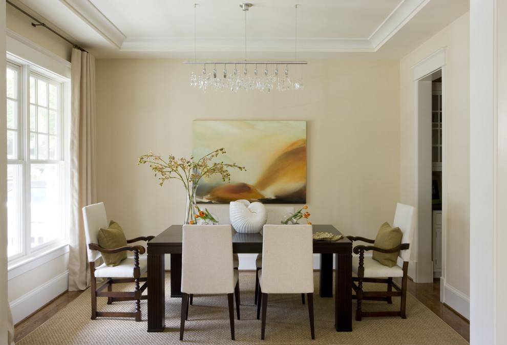 Trendy dark wood floor enclosed dining room photo in DC Metro with beige walls