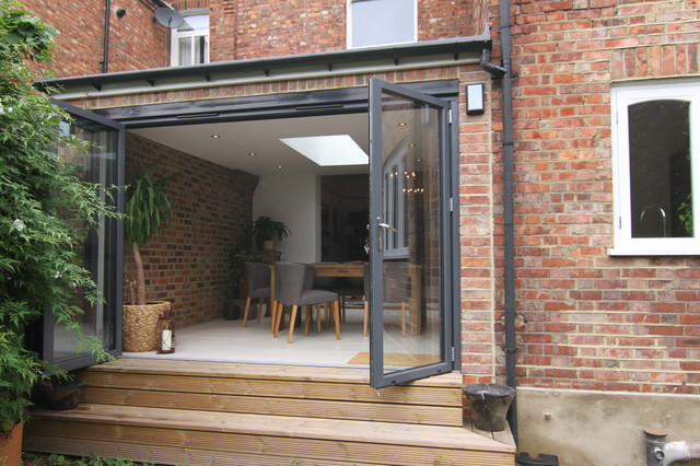 Bifold Door Entry To New Dining Room Contemporary