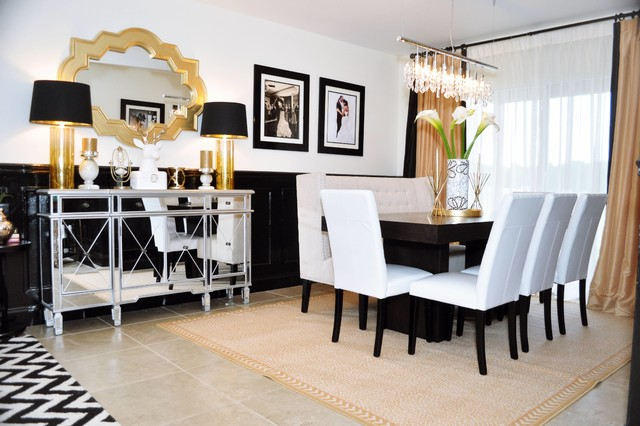 Black And Gold Glamour Contemporary Dining Room