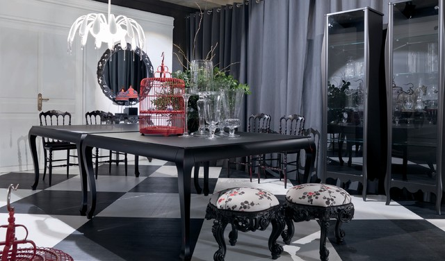 Black and white dining room - modern baroque style contemporary dining room