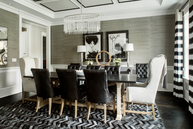 Large Transitional Dark Wood Floor Enclosed Dining Room Idea In New York  With Gray Walls