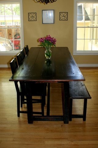 Exceptional Black Distressed Tavern Style Table With Bench Traditional Dining Room