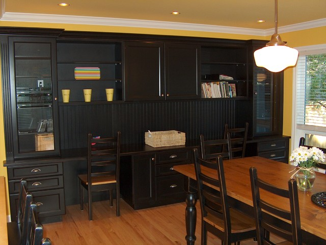 Black Painted Built in Cabinets Traditional Dining