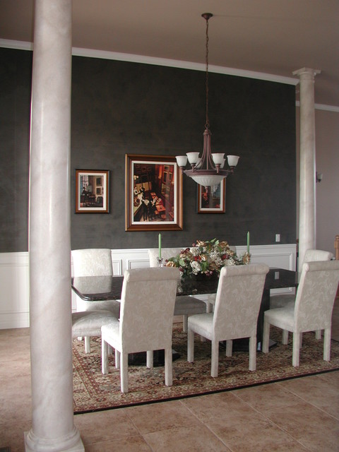 Black plaster accent wall dining room - Black walls in dining room ...