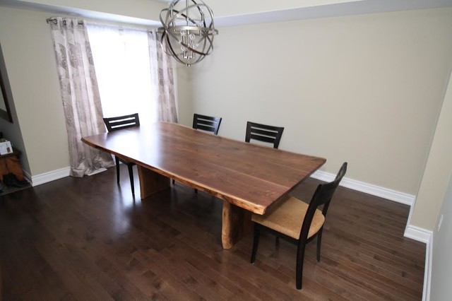 black walnut dining table rustic dining room toronto by roca wood works inc. Black Bedroom Furniture Sets. Home Design Ideas