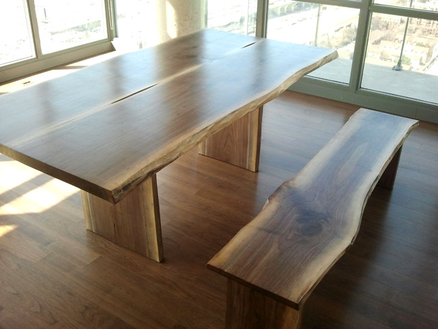 black walnut dining table with bench  rustic  dining