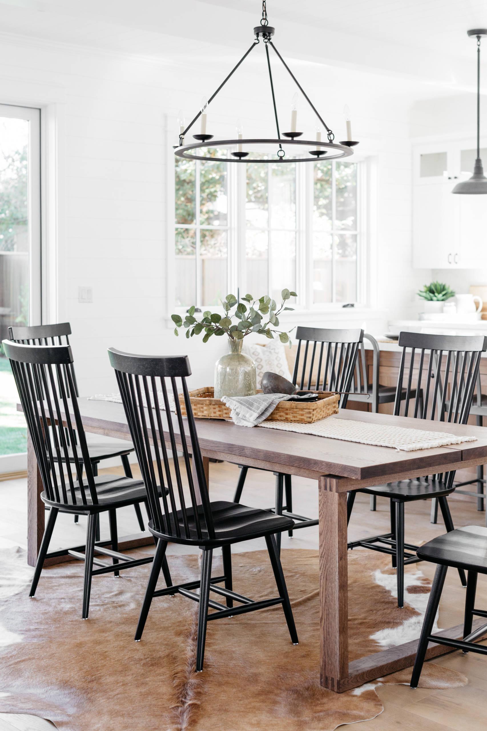 Black Windsor Chairs In Urban Farmhouse, Urban Farmhouse Dining Room Light