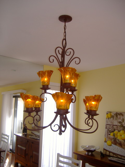 Blown Glass Chandelier Install Amber Shades Traditional Dining Room N